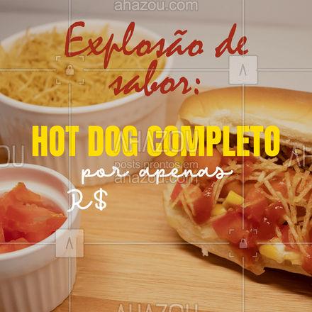 Que tal um hot dog hoje? Saboreie o melhor! Faça seu pedido: (xx) xxxxx-xxxx #ahazoutaste #hotdog  #hotdoglovers  #hotdoggourmet  #cachorroquente  #food #pedido #delivery #entrega #sabor