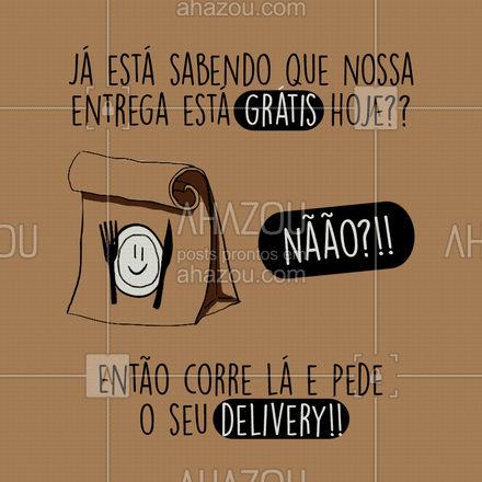 Não tem erro!! É só pedir que a entrega sai por nossa conta! #ahazoutaste #restaurante #alacarte #foodlovers #selfservice #entrega #grátis #almoço #restaurante #delivery #ahazoutaste