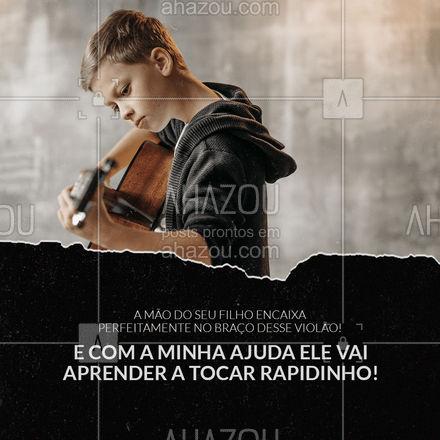 Agora é só fazer a matrícula do seu filho pra ele começar a tocar a sua música favorita pra você. #AhazouEdu #aulademúsica #música #violão