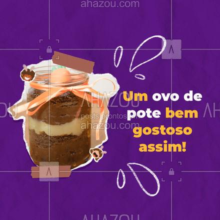 Inove no pedido para o coelho da páscoa, encomende nossos deliciosos ovos de pote! #confeitaria #doces #confeitariaartesanal #docinhos #ahazoutaste #pascoa #ovodepascoadepote #ovodepote