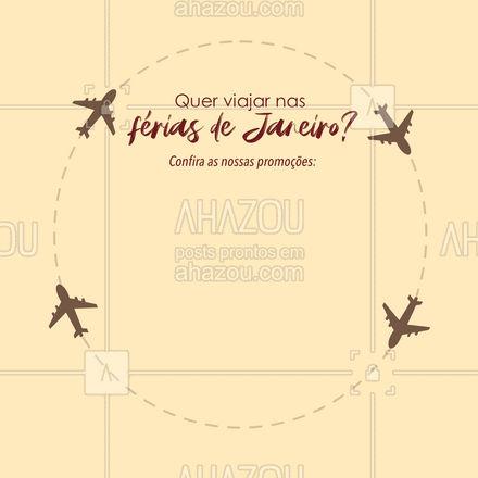 Que tal ir aproveitar as férias de Janeiro com uma viagem super especial! Dá uma olhadinha nas nossas promoções: (colocar aqui informações das promoções). #comunicado #AhazouTravel #editável #promoções #pacotes  #agenciadeviagens #viagem #viajar
