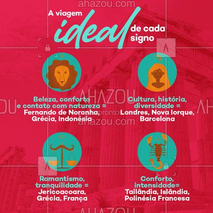 E aí, nossas dicas combinaram com seu signo? Conte pra gente nos comentários e diga qual lugar gostaria mais de conhecer! ? ✈️   #AhazouTravel  #viagens #viajar #viagem #trip #agenciadeviagens #signo #zodiaco #leao #libra #escorpiao #virgem