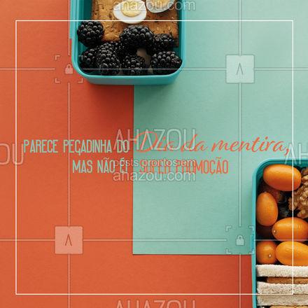 Em especial ao Dia da mentira, nós preparamos para vocês uma promoção VERDADEIRA, confira (colocar aqui informações da promoção). Não percam, essa promoção é válida somente hoje. #marmitas #diadamentira #ahazoutaste #promoção #editáveis #marmitex