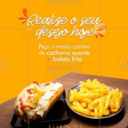 O combo perfeito é um delicioso cachorro quente com uma bela porção de batata frita. Não fique só imaginando, vem provar! 😋 #ahazoutaste