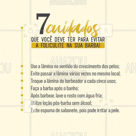 Aposte nessas dicas e evite o surgimento de foliculite em sua barba.  #barba #barbearia #dicas #AhazouBeauty  #barberLife  #barbeirosbrasil  #barbeiro  #barberShop  #cuidadoscomabarba  #barber