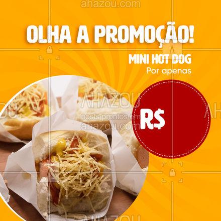 Simples e saboroso! A fome é mini? Pede um mini hot dog! 😉 #ahazoutaste #hotdog  #hotdoglovers  #hotdoggourmet  #cachorroquente  #food #pedido #delivery #promoção #promo #minihotdog