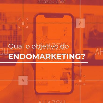Endomarketing é uma estratégia que visa a melhoria da motivação, produtividade, bons relacionamentos e engajamento os colaboradores de uma equipe. Essa é uma estratégia que vem crescendo muito entre as empresas. Adote você também!  #AhazouMktDigital  #marketingdigital #mktdigital #marketing