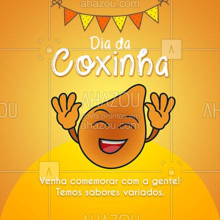 Venha comemorar o Dia da Coxinha com a gente!  O salgado mais amado do Brasil está aguardando o seu pedido! Peça já a sua! #ahazoutaste #diadacoxinha #coxinha #salgados #eat