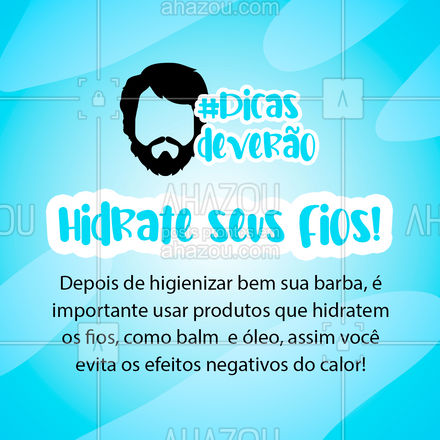 A hidratação é fundamental para uma barba saudável e bonita, no calor, a hidratação passa a ser ainda mais importante! ? #dicasdeverao #barba #AhazouBeauty  #barberLife #barbeiro #barberShop