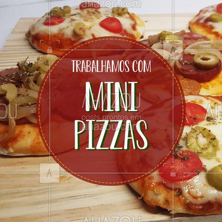 Temos mini pizzas de diversos sabores! Escolha as suas favoritas e faça seu pedido! Aguardamos você!    #ahazoutaste  #pizza #pizzaria #minipizza