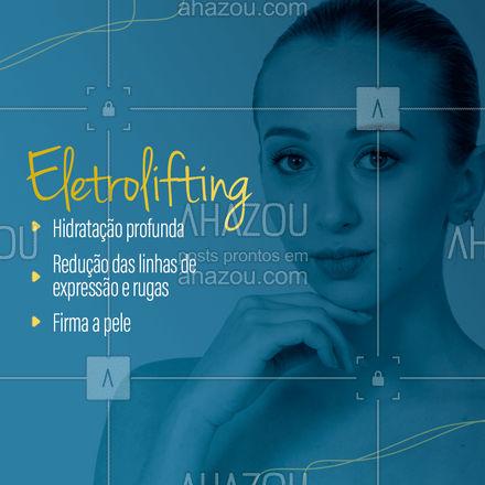 Os benefícios são inúmeros. Venha conhecer o procedimento de eletrolifting, faça o seu agendamento. ☎️ Para mais informações: (inserir contato)   #AhazouBeauty #BelezaeEstética #Beleza #Estética #Eletrolifting #ProcedimentoEstético #Tratamento #esteticaavancada