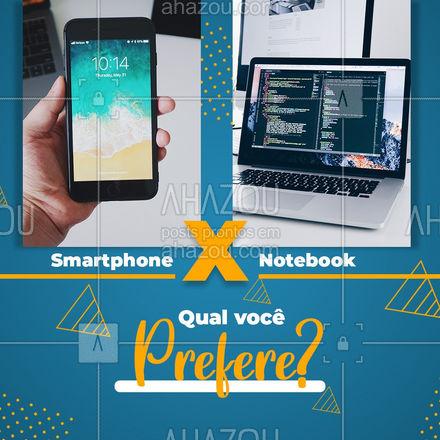 Entre seu celular e seu note, qual você prefere? A gente prefere consertar os dois, conta pra gente ai seu preferido! #AhazouTec #tec #notebook #smarthphone #celular #smartphone #phone #consertonote#AssistenciaTecnica #AhazouTec