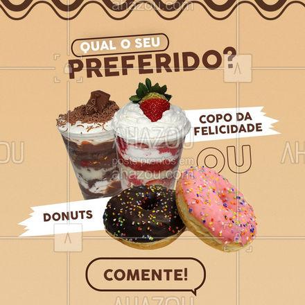 Qual doce você gosta mais? São dois deliciosos doces, e entendemos que a escolha está difícil! Comente qual o seu favorito. #ahazoutaste #enquete #donuts #copodafelicidade  #confeitariaartesanal  #doces  #confeitaria
