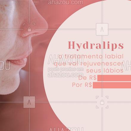 Tenha lábios SUPER HIDRATADOS em uma sessão, entre em contato e agende a sua sessão! #hydralips #AhazouBeauty #promoção #esteticafacial #beleza
