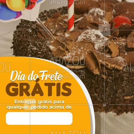 Aproveite o dia do frete grátis e mate aquela vontade de comer nossos bolos!  ???  #ahazoutaste #diadoFretegratis #FreteGratis #FreteGratuito #frete #bolos #doces #confeitaria #delivery #confeitaria #doces #confeitariaartesanal