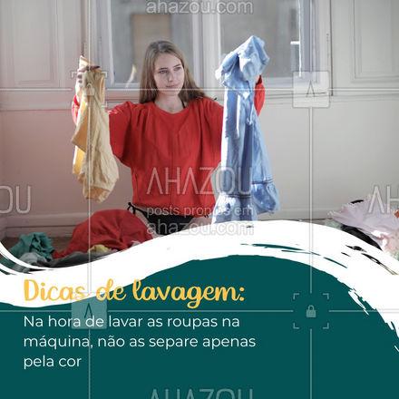 Ao lavar roupa você precisa separar as peças por cores, como: brancas, pretas e coloridas. Mas também é necessário separar por tipos de tecido, como tecidos leves e grossos.  ??   #lavanderia #roupas #dicas #ahazoucasa #cores #tecidos #maquinadelavar #lavar