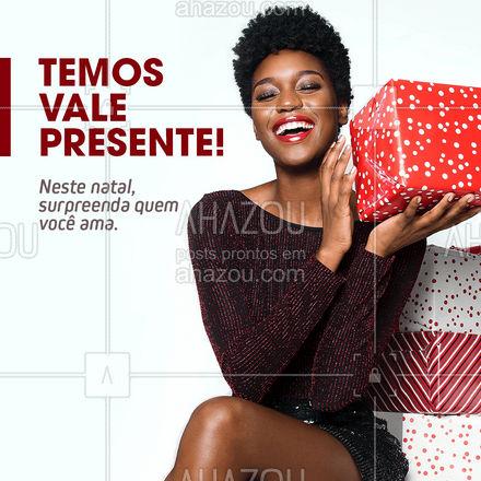 Faça diferente neste ano! Demonstre todo o seu amor com um vale presente super especial! ?  #valepresente #presente #natal #ahazou #promocao #fimdeano