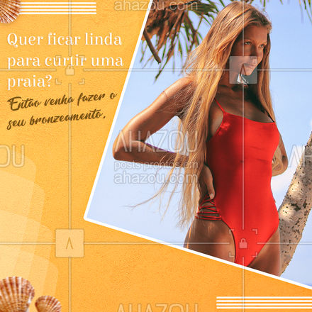 A gente sabe que você ama uma praia e que tal garantir um bronzeamento para arrasar com o seu biquíni? Estamos te aguardando. #Praia #Biquíni #AhazouBeauty #Convite #Bronzeamento