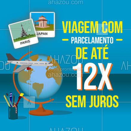 Agora ficou mais fácil viajar não é mesmo? Parcelamos sua tão sonhada viagem em até 12x sem juros. Venha conferir! #AhazouTravel #viagens #agentedeviagens #viageminternacional #viagempelobrasil #viajar #agenciadeviagens #AhazouTravel