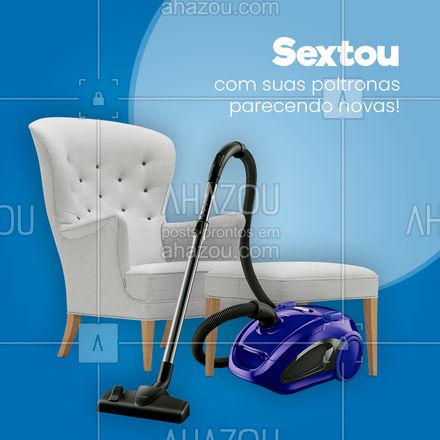 Aproveite a sexta para agendar a limpeza das suas poltronas! ? #poltronas #limpezadepoltronas #estofadas  #AhazouServiços #serviços #serviçospracasa