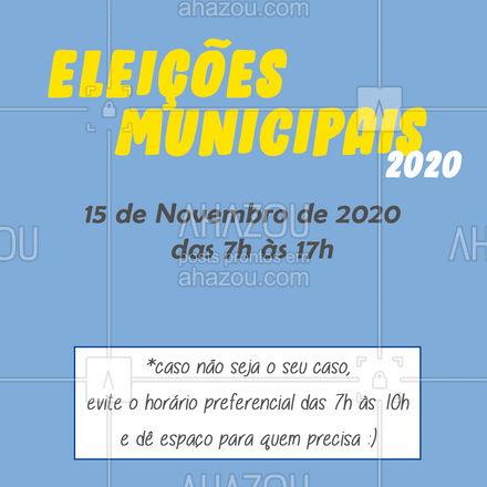 As Eleições já estão chegando! Já escolheu as pessoas pra quem vocês irão dar seu voto? Não esqueça de levar os números anotados em um papel, para não correr o risco de esquecer na hora que chegar na urna. Lembre-se: não será autorizado o uso de dispositivos eletrônicos dentro da sala de votação, então leva sua nota no papel mesmo e deixa a selfie pra outra hora! ? #AhazouEdu #AhazouEdu
