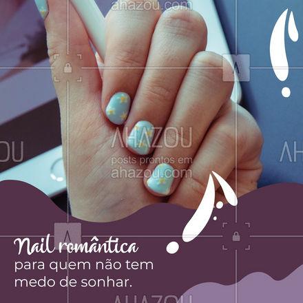 A Nail art tem vários estilos, e o estilo romântico é perfeito para as sonhadoras. Usando elementos associados ao romantismo, como corações, flores e estrelas, ela é perfeita para quem sonha com uma grande história de amor. E você, é uma sonhadora? #AhazouBeauty #manicure #nailart  #unhasdehoje