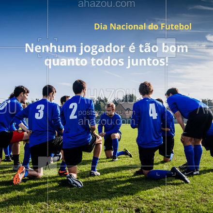 Feliz Dia Nacional do Futebol! Não interessa quem balança a rede, um por todos e todos por um! ⚽ #ahazou  #frasesmotivacionais #motivacionais #quote #motivacional #futebol #dianacionaldofutebol #bolanarede #fut #time