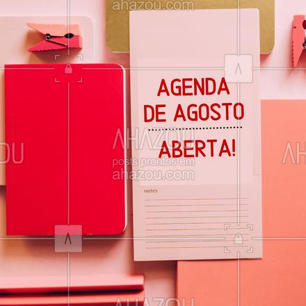 A agenda deste mês de Agosto está oficialmente aberta! Esperamos seu contato para agendar o melhor horário para você!  #ahazou #agendaaberta #agosto #agenda #horario