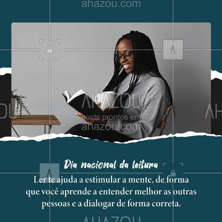 Melhore o seu diálogo, criatividade e estimule a sua mente. 📚😉 #AhazouEdu #leitura #ler #dianacionaldaleitura #educação #mundo #educar #dica #porqueler