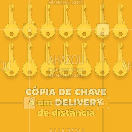 Fazer uma copia das suas chaves nunca foi tão fácil. É só pedir o nosso serviço delivery, que a cópia já tá na mão.  #AhazouServiços  #chaveiro #delivery