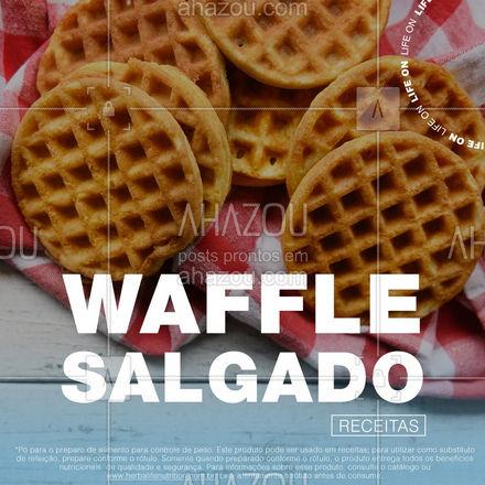 Que tal combinar um waffle com a nossa Nutri Soup Creme de Carne com Batata-Doce? Essa receita é muito prática de fazer, além de ser uma combinação deliciosa e que vai te deixar com água na boca ??⠀ _⠀ Comente aqui caso você já tenha experimentado o waffle salgado. ⠀ _⠀ Ingredientes ✅⠀ _⠀ -1 colher de sopa rasa (6 g) de Protein Powder⠀ -1 colher de sopa (12,8 g) de NutreV⠀ -3 colheres de sopa (27 g) de Nutri Soup de Creme de Carne com Batata-Doce*⠀ -250 ml de água⠀ -1 ovo ou 2 colheres de ovo em pó⠀ -1 colher (café) de fermento em pó⠀  _⠀ Modo de preparo ✅⠀ _⠀ Em um recipiente, misture todos os ingredientes com o auxílio de um batedor fuê até obter uma massa homogênea. Despeje a massa em uma máquina de waffle untada ou em uma frigideira antiaderente e deixe por aproximadamente 5 minutos (dependendo da potência de cada máquina). ⠀ _⠀ ⠀ Informações nutricionais: ⠀ _⠀ Valor energético: 222 kcal ⠀ Carboidratos: 13,9 g ⠀ Proteínas: 24 g ⠀ Fibras: 4,4g ⠀ ⠀ Dica: você pode turbinar esta receita com mais 4 g de fibras adicionando 1 colher de Fiber Powder. ⠀ ⠀ * Pó para o preparo de alimento para controle de peso. Este produto pode ser usado em receitas; para utilizar como substituto de refeição, prepare conforme o rótulo. Somente quando preparado conforme o rótulo, o produto entrega todos os benefícios nutricionais, de qualidade e segurança. Para informações sobre esse produto, consulte o catálogo ou www.herbalifenutrition.com.br. Leia atentamente o rótulo antes de consumir.  #ahazouherbalife #ahazourevenda