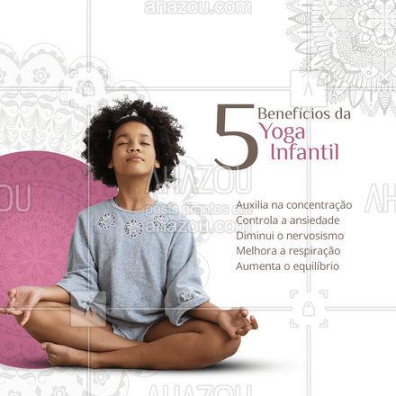 Separamos 5 alguns benefícios da yoga infantil nesse post. A yoga ajuda na autoestima da criança e por ser realizada em grupo, também aumenta a concentração e o interesse das crianças! Quer saber mais? Entre em contato: (xx) xxxx-xxxx #AhazouSaude  #namaste #yogainspiration #yogalife #meditation #yogainfantil