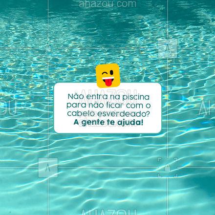 Vamos te ensinar algumas dicas para que você possa curtir uma boa piscina quando quiser, então já salva o post 📱 para ter sempre em mãos!  Para começar, o cabelo fica com um tom esverdeado quando entra em contato com o sulfato de cobre, a substância evita com que haja o aparecimento de algas na piscina.  Há alguns cuidados que você pode ter antes de entrar na piscina, como:  ☀️ Manter os fios hidratados; ☀️ Lavar o cabelo antes e depois de entrar na piscina; ☀️ Aguardar 15 dias pós procedimento de clareamento capilar para entrar na piscina; ☀️ Utilizar produtos para o verão, para que eles protejam os fios e evitem estragos.  Caso tenha entrado na piscina sem manter os cuidados acima, não se preocupe, tem solução. Basta utilizar produtos micelares, que possuem micropartículas de óleo que atraem e eliminam resíduos de sujeira e metais pesados, fazendo a limpeza profunda dos fios. Mas, caso o cabelo esteja severamente ressecado e esverdeado, o ideal é procurar um profissional!  #cabeloperfeito #AhazouBeauty  #hair  #hairstylist  #hidratacao   #cabeleireiro  #cabelo #CabeloEsverdeado