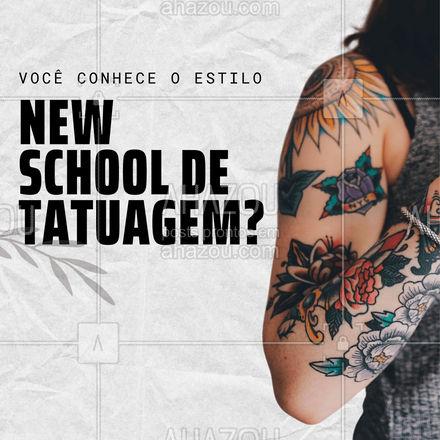 Com traços fortes, cores ousadas e temática urbana, esse estilo é uma releitura do Old School. Ele é muito popular entre quem gosta de cartoon e animações.  #AhazouInk  #estudiodetattoo #tattoocolorida #tatuagem #tattoos #dicadetattoo #tattooepiercing