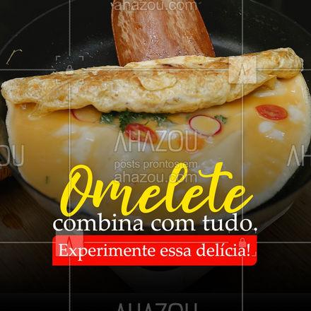 Nossa omelete é super famosa por aqui por ser um prato delicioso e suculento, perfeito para o dia a dia ? #ahazoutaste #omelete #refeição #convite #almoço #jantar #pratos #alacarte