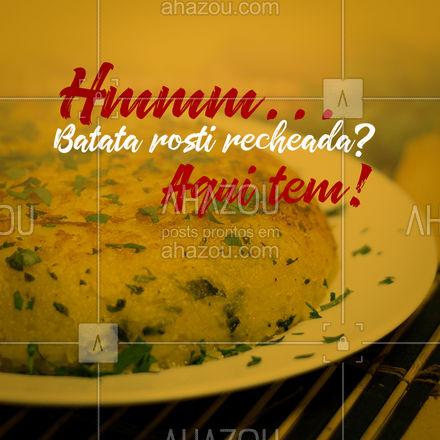 Aqui tem a melhor batata rosti que você já viu! Quem prova, aprova! Peça já pelo delivery! #ahazoutaste #eat  #ilovefood  #instafood  #foodlovers #pedido #delivery #convite #cliente #batata #batatarosti #batatarecheada