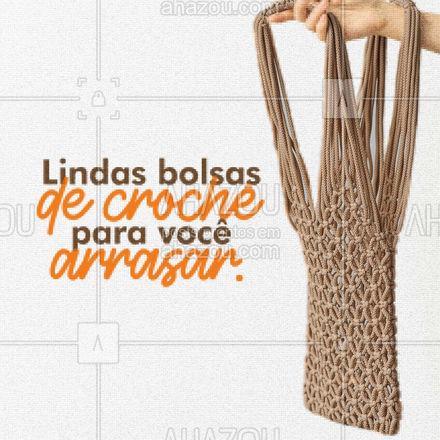Venha conferir a variedade de cores e modelos das nossas bolsas de crochê, aproveite! 👜 #AhazouFashion #costureira #tricot #reparos #encomendas #fashion #bolsadecroche