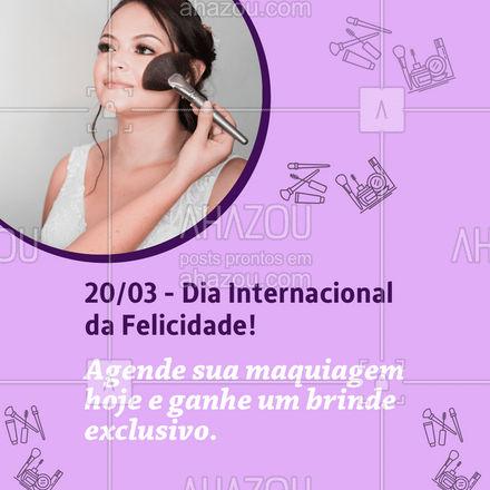 Que tal esse presente no Dia Internacional da Felicidade? Agende seu horário e fique ainda mais bonita. ? #mua #makeup #brinde #AhazouBeauty #promoção  #maquiagem #maquiadora #DiaInternacionaldaFelicidade!