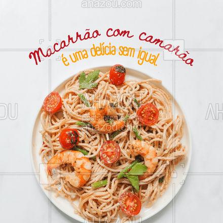 Se você está procurando um sabor sem igual, então o que você quer é provar o nosso delicioso macarrão com camarão. #ahazoutaste #macarrão #camarão #massas #frutosdomar