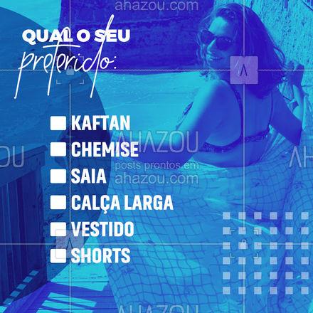 Qual o seu estilo de saída de praia? Ou você só se enrola na canga mesmo?  #AhazouFashion  #moda #modapraia #praia #fashion #verao #enquete #saidadepraia
