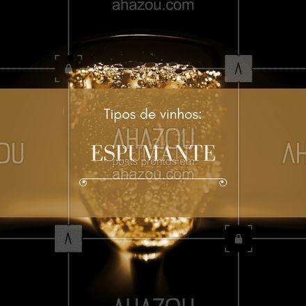 """Os espumantes são vinhos que possuem borbulhas, também chamadas de """"perlage"""". Esses vinhos são borbulhantes devido a uma segunda fermentação. Os espumantes podem ser tintos, rosés e o mais comum branco.  Existem 2 métodos de fermentação: o primeiro é feito na própria garrafa e o segundo é feito em tanques e só depois da fermentação ele é engarrafado. #vinho #dicas #ahazoutaste #bar #drinks #wine"""