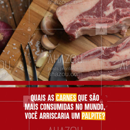 Hoje, a carne mais consumida no mundo é a suína, com aproximadamente 114 milhões de toneladas por ano. O frango, por sua vez, tem consumo de 106 milhões de toneladas também por ano. ???#ahazoutaste  #churrasco #bbq #açougue #barbecue #churrascoterapia #meatlover
