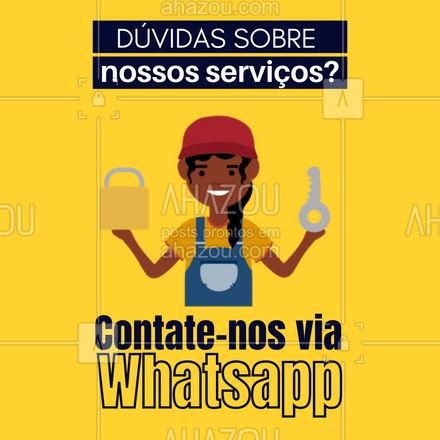 Estamos aqui pata te ajudar, qualquer coisa entre em contato pelo número (XX) XXXX-XXXX ?#atendimento #AhazouServiços #whatsapp # serviços #chaveiro