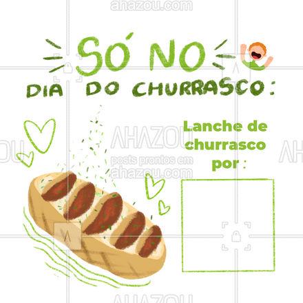 Aproveite para curtir um delicioso lanche de churrasco no dia mais apropriado possível: Dia do Churrasco! Faça seu pedido. #lanches #lanchedechurrasco #ahazoutaste #diadochurrasco #hamburgueria #burger #hamburgueriaartesanal