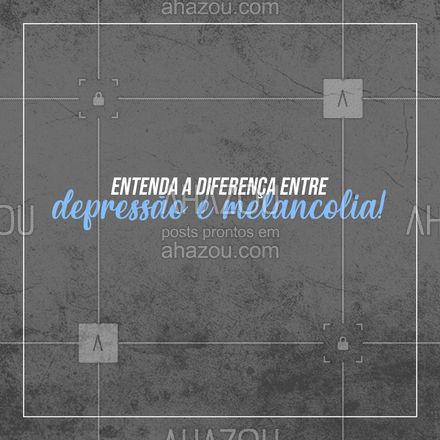 """Afinal qual a diferença entre a melancolia e a depressão? Existe diferença? Essas são algumas dúvidas comuns. Os parâmetros utilizados para entender e diferenciar cada caso são: duração, intensidade e os chamados """"fatores desencadeantes"""".  Quando falamos sobre depressão é necessário entender que é uma doença que pode ser desencadeada por fatores bioquímicos, genéticos e hereditários, com ou sem um fator externo motivador. Afetando o desempenho, o raciocínio e a concentração, sua duração pode ser de meses ou anos. Já a melancolia, mesmo que tenha uma duração de anos, não interfere diretamente na criatividade ou no raciocínio, já o desempenho dependerá do contexto em que ela se manifestar.  🧠 #AhazouSaude #mentalhealth #viverbem #headspace #saudemental #dicas #melancolia"""