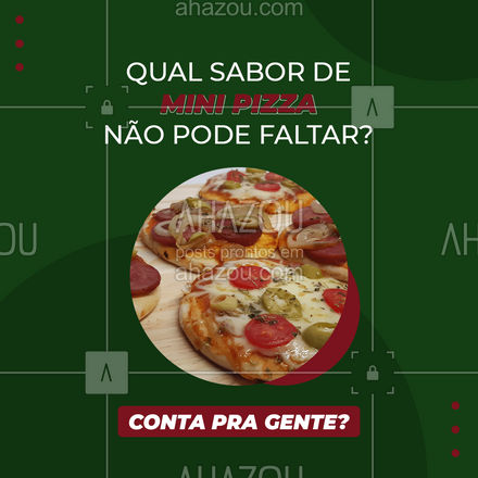 Trabalhamos com sabores de mini pizza variados! Conta pra gente qual o seu preferido que não pode faltar no seu pedido? #ahazoutaste #minipizza #pizza #pizzaria #ahazoutaste