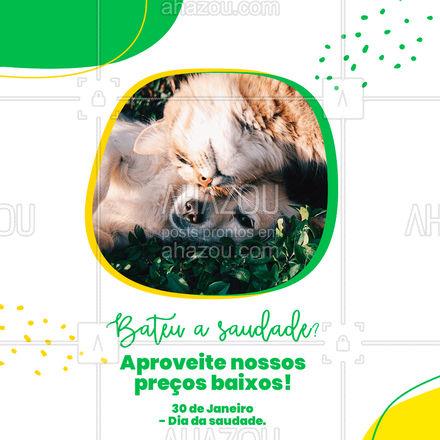 Traga seu pet para uma consulta de rotina. Para matar a saudade, temos descontos de até ( colocar o valor do desconto), não perca essa promoção!?? #AhazouPet #medicinaveterinaria #veterinario #petvet #clinicaveterinaria #veterinarian #veterinary #veterinaria #vet #diadasaudade #saudade