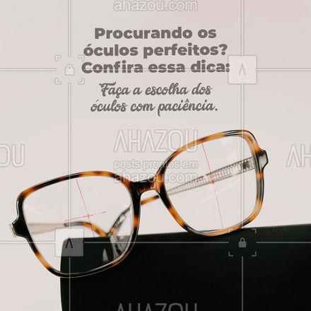 Muitos acreditam ser uma escolha fácil, mas é um acessório que fará parte do seu dia a dia então merece atenção, fique atento as nossas dicas para encontrar os seus óculos ideias! #AhazouÓticas #dicas #armação #ótica #tiposdearmação #estilo #óculos #lente #AhazouÓticas