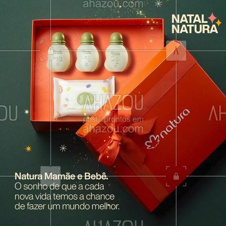 """E se neste Natal, além de presentes, compartilhássemos o sonho de que a cada nova vida temos a chance de fazer um mundo melhor? Natal Natura. Em cada presente, nosso sonho de um mundo mais bonito. #CompartilheSeusSonhos #PorUmMundoMaisBonito  #PraTodosVerem: Na imagem vemos a caixa de presente laranja da Natura com os produtos de Natura Mamãe e Bebê dentro e o texto """"Natura Mamãe e Bebê. O sonho de que a cada nova vida temos a chance de fazer um mundo melhor."""" #AhazouNatura #ahazourevenda"""