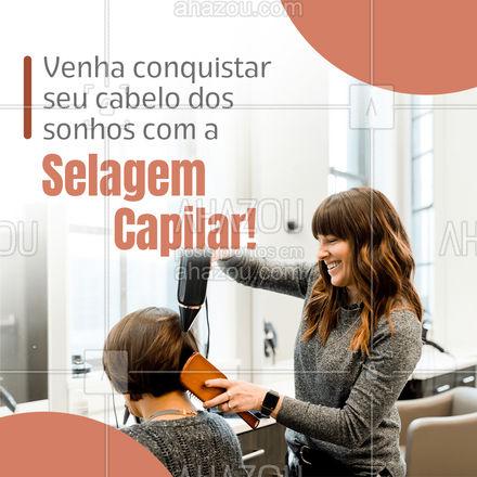 A selagem capilar é um procedimento que tem como benefício dar força e manter os nutrientes dos fios! A selagem proporciona uma hidratação maior aos cabelos e consequentemente mais brilho! Se é brilho que você deseja, esse tratamento é perfeito para você! Venha deixar seu cabelo mais alinhado com a nossa selagem capilar! #AhazouBeauty #selagem #hair #hidratacao #salaodebeleza #cabeleireiro #cabelo
